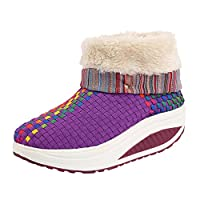LvRao Women Snow Boots with Faux Fur Lined Braid Vamp Warm Ankle Snow Booties Shoes (Purple, EU 37/CN 38)