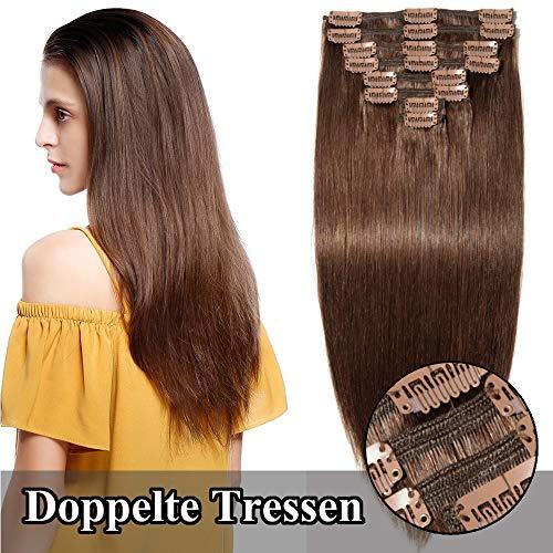TESS Clip in Extensions Echthaar guenstig Haarverlängerung Doppelt Tressen für komplette Haarextension 8 Teile 18 Clips Glatt 7A Dick Hair (60cm-170g, 4 Schokobraun)