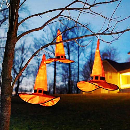 10Pcs Halloween-Dekorationen Im Freien hängenden Beleuchtetes glühende Hexenhut Dekorationen Batteriebetriebene Halloween-Dekors mit 8 Leuchtvarianten für Outdoor, Garten, Indoor, Garten, Baum, Party