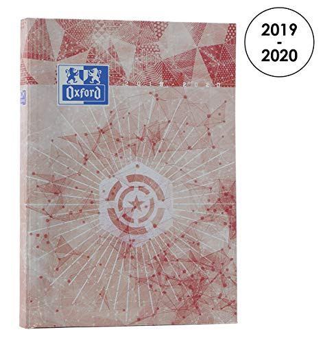 OXFORD 100738344 Metal Agenda Scolaire journalier 2019-2020 1 Jour par Page 352 pages 12x18 Rouge par  OXFORD