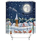 SearchI Tenda Doccia Tessuto di Natale 180x180cm,Tende Doccia Antimuffa Impermeabile Tenda per Doccia Lavabile,Tende da Doccia Imposta con 12 Ganci di Plastica(Notte di Natale,180x180cm)
