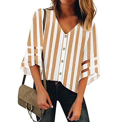 Ncenglings Damen Damen Sommer Bluse Sexy Oberteile Mode Blusen Elegant Kurzarm Rundhals Loose Oberteile Casual Retro T-Shirt