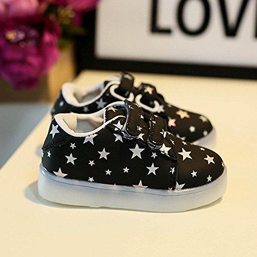 Baby Art und Weise Schuhe LED leuchtendes Kind Kleinkind beiläufige bunte helle Schuhe kingko weiches Handgefühl Sehr gut geeignet für 1 bis 6 Jahre alte Kinder Schwarz MAsEQ