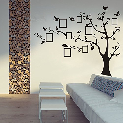 Luckkyy Removable Photo Picture Frame Tree Vin Branches and Soaring Birds Wall Decor Removable Wall Stickers Mural Home Decor