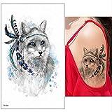3pcs Foglio Adesivo Adesivo Tatuaggio temporaneo Impermeabile Cane Carino Gatto Tigre colorato Modello Animale Donne Ragazza Body Art Rimovibile TH104 21x15 cm