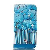 Nancen Huawei G Play Mini / Honor 4C (5 Zoll) Ledertasche / Handyhülle, Bookstyle Flip Case Folio Cover PU Leder Wallet Etui Handy Zubehör Lederhülle Schutzhülle - mit Standfunktion Magnetverschluss Brieftasche und Karten Slot [Blauer Wald]