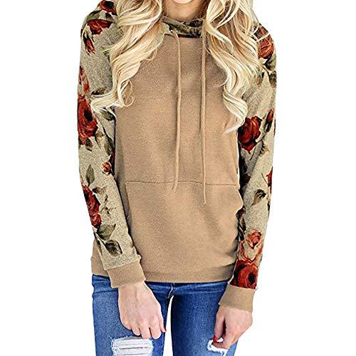Damen Hoodie, Bluelucon Blumendruck Patchwork Sweatshirt Langarm Pullover -