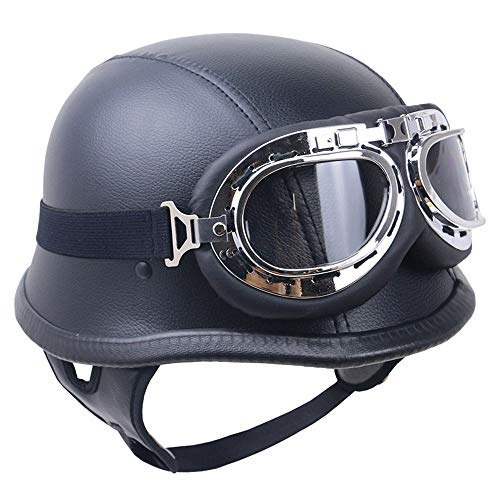 Xbeco casco moto vintage open viso semi caschi con occhiali harley stile dot certificato di carbonio fibra aspetto four seasons unisex,leather,m