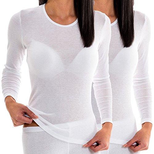 HERMKO 17830 2 Stück Damen langarm Unterhemd, Shirt aus Baumwolle / Modal, Farbe:weiß, Größe:40/42 (M) (Weiße Baumwoll-mischung)