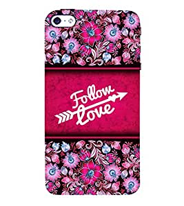 Follow Love 3D Hard Polycarbonate Designer Back Case Cover for Apple iPhone 5S