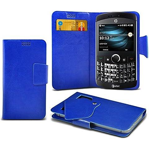 (Blue) HP iPAQ Glisten Caso fino estupendo Faux Leather succión Pad Monedero piel de la cubierta con el crédito / débito ranuras para tarjetasBy