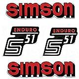 Set Aufkleber Klebefolie für Simson S51 Enduro Rot für Tank und Seitendeckel