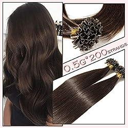 200 Mèches Extension Cheveux Naturel Pose a Chaud - Extensions Keratine Pre Bonded U Tip Remy Human Hair Extensions - Pour Toute la Tête (40CM-100g, 2 CHATAIN FONCE)