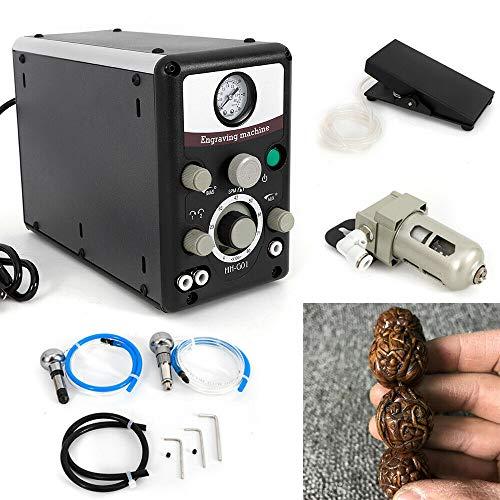Pneumatische Geräte (YIYIBY 220V Doppelköpfige Pneumatische Graviermaschine gravur gerät Schmuck Craft Engraver + Filter + Fußschalter Maschine)