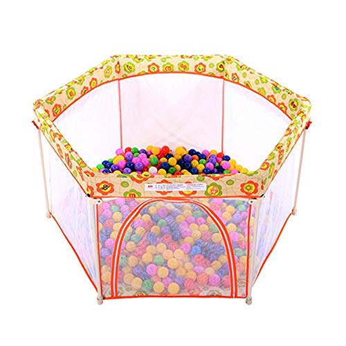 QAZSDF Tragbarer, Unabhängiger Spielplatz Mit 6 Tafeln Mit Zelt Und Marineball (Farbe : Orange)