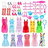 Siiruc 46 Piezas Ropa y Zapatos para Muñeca Barbie, 12 Mini Vestidos...