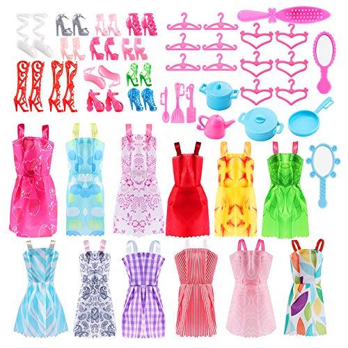 46 pezzi Accessori per Barbie, Barbie Abito Gonna Moda Scarpe Oggetto Domestico Rosa Grucce per Barbie Accessori per Della Ragazza Compleanno Regalo Natale