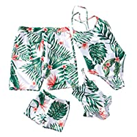 mama stadt Family Set Swimsuit One Piece Bikini Mother and Daughter Swimwear Father and Son Swimwear Green Leaves Spring Summer