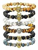 BE STEEL Schmuck 4Pcs Lava Rock Perlen Armbänder für Herren Damen Armband Drache Löwe Leopard Kopf Punk Set Elastisch 8mm tl