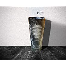 CAPSTONA Zebra Triton Black Marble Free Standing/Pedestal Natural Stone Designer Bathroom Washbasin, 820 mm Height