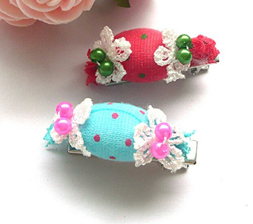 Dogs Kingdom Cute Candy Design Dog Hair Clips Cat Hair Clip Katzen Hunde Kopf Blume 1Paar