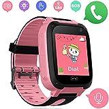 Niños Smart Watch Phone - LBS Tracker Smartwatch para niños de 3-12 para niños y niñas SOS Camera Anti-Juego perdido para Tarjeta SIM Juego de Pantalla táctil Smartwatch Childrens Gift (Rosa)