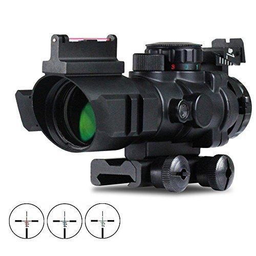 VERY100 Zielfernrohr 4x32mm Leuchtpunktvisier mit Fiberoptic Red Green Dot Visier Zielgerät (21MM)