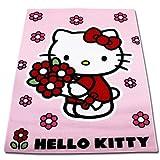 TW24 Disney Spielteppich - Kinderteppich - Teppich - Läufer 133x95cm mit Motivauswahl (Hello Kitty Red Flower)