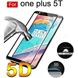 Ikazen Full Glue Full Coverage 5D Curved Edge Full Screen Tempered Glass Screen Protector For OnePlus 5T / One Plus 5T - Black