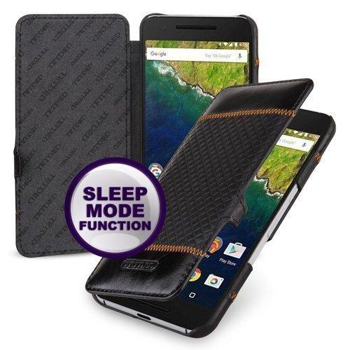 TetDed® Handarbeit Echtes Cowhide Leder UltraSlim 'Wallet' Case, Hülle für Google Nexus 6P, Schwarz Diamond