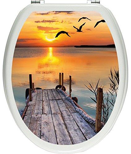 Pixxprint 3D_WCs_2521_32x40 Steg bei Sonnenuntergang als Toilettendeckel Aufkleber, WC, Klodeckel, gläzendes Material, bunt, 40 x 32 cm