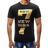 T-Shirt Sunnyadrain Kurzer Ärmel Muster Baumwolle O-Neck Plus Größe Top Sommer Tank Bluse Casual Sport Fitness Herren