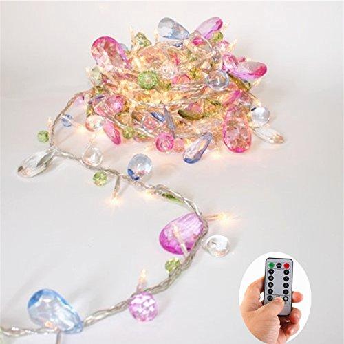 EchoSari Indoor House Schlafzimmer LED Lichterkette-Bohemia Style String mit Juwelen-Bunte Juwelen LED Fairy Weihnachten Lights-Batterie-8 Mode- Remote-Timer, 30 Warmweiß LED Geschenk Lichter für Mädchen [aktualisiert Version]