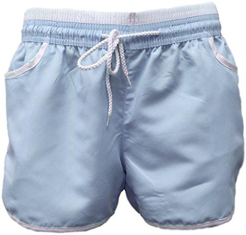 A-Express Femmes été Plage Exercice Sportif Salle de Sport Yoga Hot Pants Short Bleu