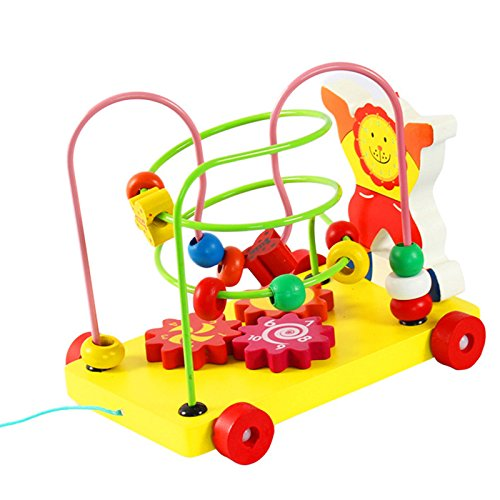 FunBlast™ Colorful Beaded Trailer Kid Push Pull Toy for baby Puzzle,wooden Walker Toys for Toddlers,Educational Skill Improvement Wood Toys for Toddlers, Multicolor