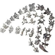 100pcs Colgantes tibetanos del encanto de plata retro al por mayor mezclados a granel para la fabricación de la joyería de la pulsera del collar de DIY