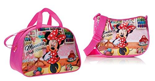 DISNEY: Pack Bolsa de viaje/bolsa de deporte MINNIEŽS CRAFT ROOM + Bolso Bandolera MINNIE CRAFT ROOM, 2 Litros, Color Rosa.