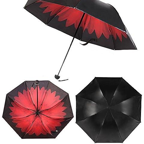 Muamua pieghevole ombrello, ombrellone, Bloccare 98% di raggi UV, Red