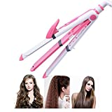 Hair Straightener 3 En 1 Plancha De Pelo Hierro Que Se Encrespa Multifuncional Plancha De Maíz Corrugado Rodillo Calentado,Pink