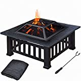 Huoduoduo Feuergrube Mit Grill Regal, Outdoor-Holzkohle-Grill, Brazier-Heizung, Holz-Brennholz-Holzkohle Gegrillten Brazier, Outdoor-Patio-Herd Carbon-Grill Tisch