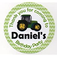 "Tractor Design""Thank you for coming to."" Stickers - PERSONALISED A4 Sheet of 15 x 50mm Round Party Bag Stickers"