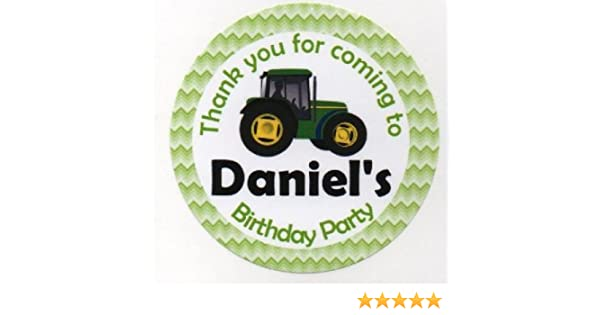 Feesten Speciale Gelegenheden Green Tractor Digger Personalised Thank You Sticker Party Sweet Cone Birthday Luxclusif Com
