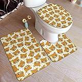 Uosliks Set di 3 tappetini da toeletta all'Interno di tappeti da toeletta