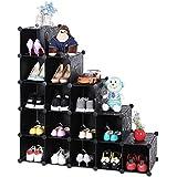 Songmics Armoire/Etagère de rangement à chaussures en plastique Noire imprimée 4 x 4 Cubes 92,5 x 37 x 92,5 cm (L x l x h) LPC44H