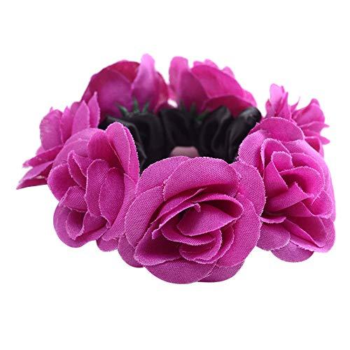 MIRRAY Damenmode Blumen Haarschmuck Elastisches Sommer Haarband Kosmetik Haarkreis Lila - Elasthan Stretch-fleece-stirnband