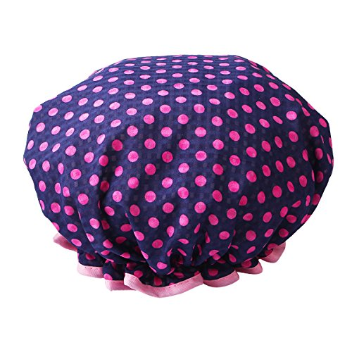 HiCollie Womens Cute Polka Dot Printed Double Layer Waterproof Shower Cap, Navy