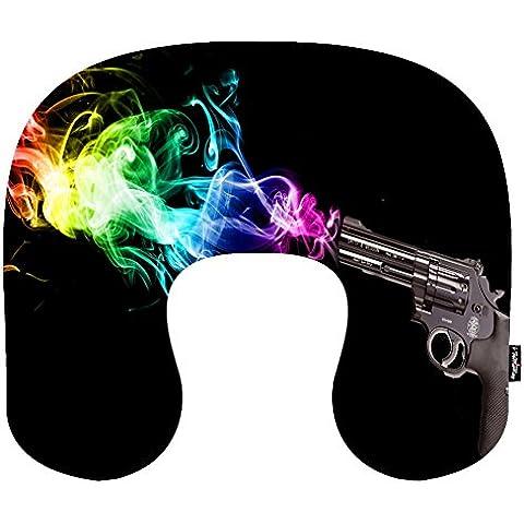 i FaMuRay Cuscino da Viaggio per Cervicale a Memoria di Forma di U Cuscino Colorfull Gun Shot Pattern - Fine Fabric Gun Gun