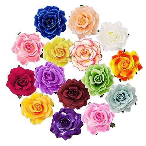 PERFETSELL 15 Stücke Haarclip Rosen Blumen Haarspangen Haarblumen Mehrfarbig Haarschmuck Brosche Braut Haarnadeln Hochzeit Mädchen Frauen Party Strand