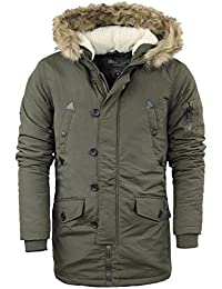 Mens Brave Soul Parka Parker Padded Lined Winter Jacket Faux Fur Hooded Coat Small | Medium | Large | X- Large | XX-Large Winter 2016/17 Colours