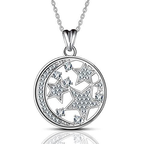 AEONSLOVE Night Sky Disc Pendant Necklace 925 Sterling Silver Moon and Star Jewelry for Women
